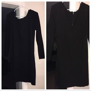 INC Medium black sweater dress with suede front